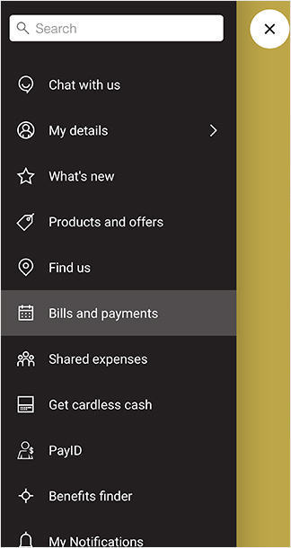 CommBank app screen: menu item