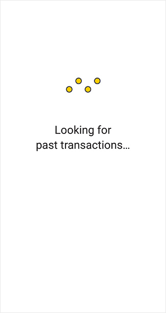 "CommBank app screen: ""Looking for past transactions..."""