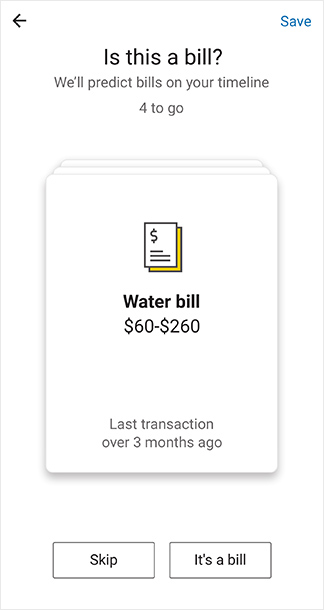 "CommBank app screen: ""Is this a bill?"" Choose ""Skip"" or ""It's a bill"""