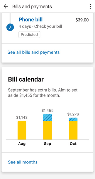 Screenshot: Bill Calendar