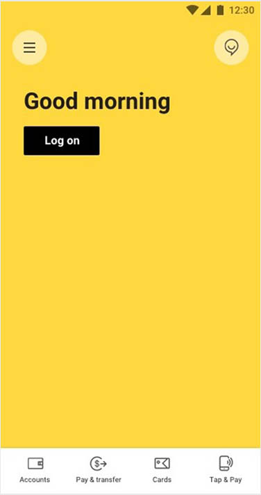 screen: CommBank app home screen