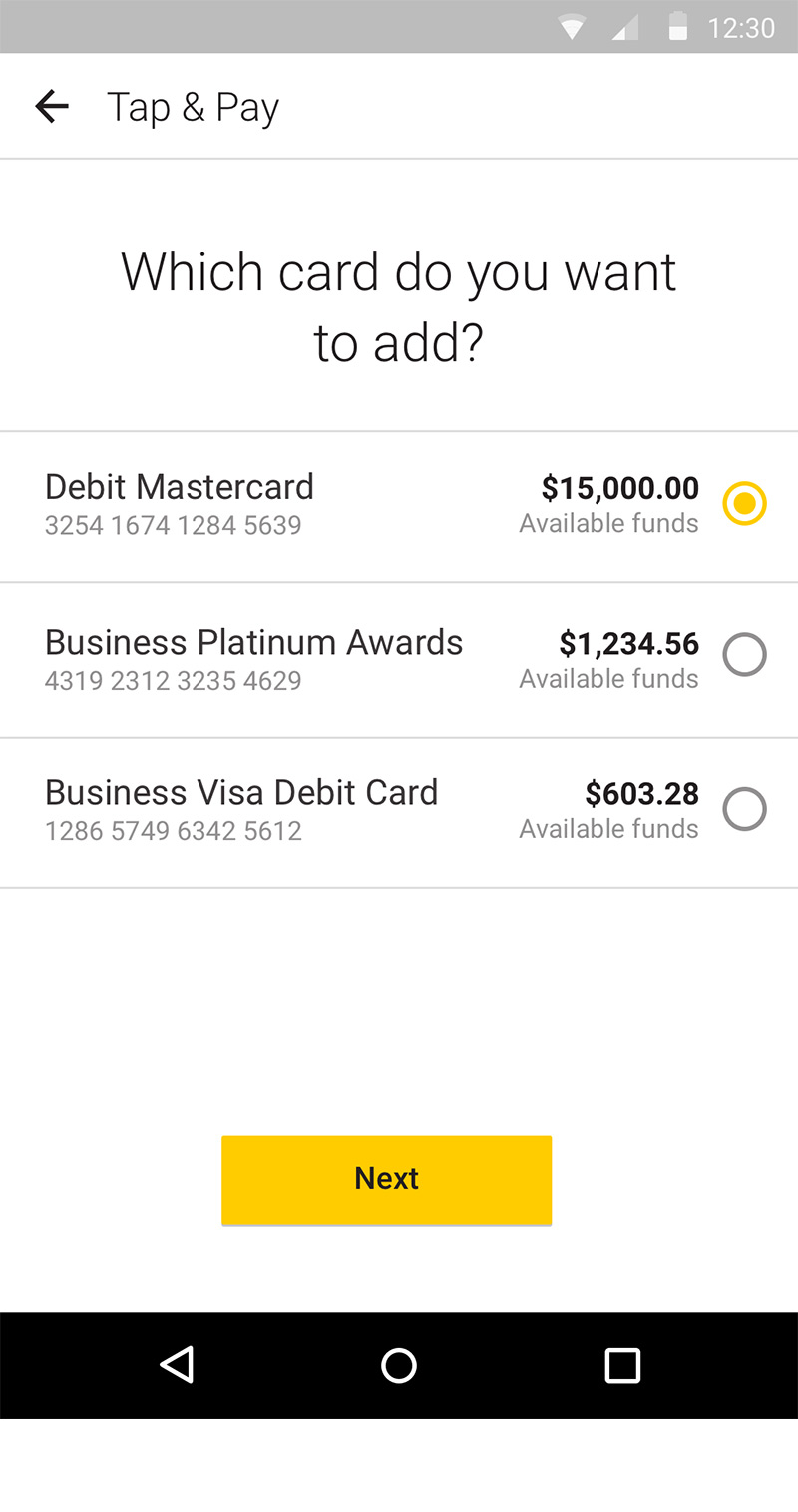screen: CommBank app Tap & Pay - choosing linked card (Debit Mastercard is selected)