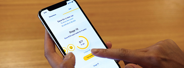 CommBank app screen: set up a savings goal