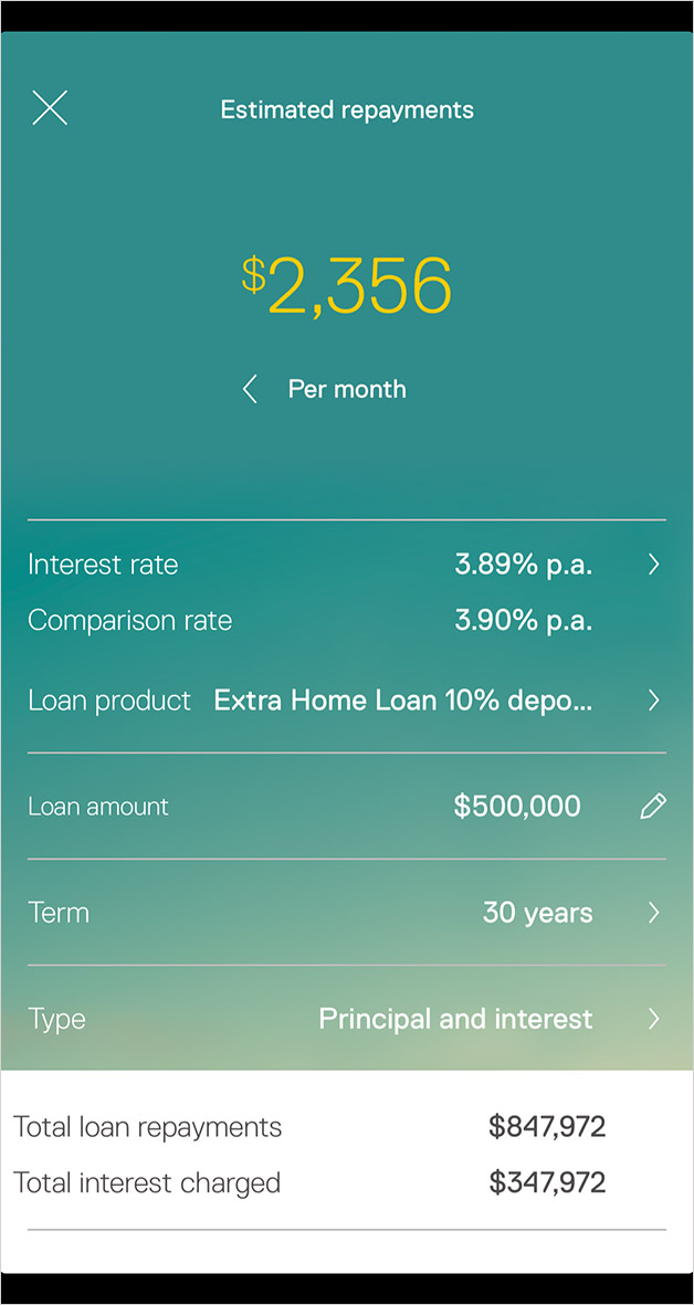 Estimated repayments in the Property app.