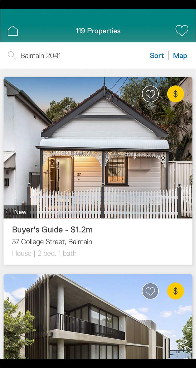 Property listings in the Property app