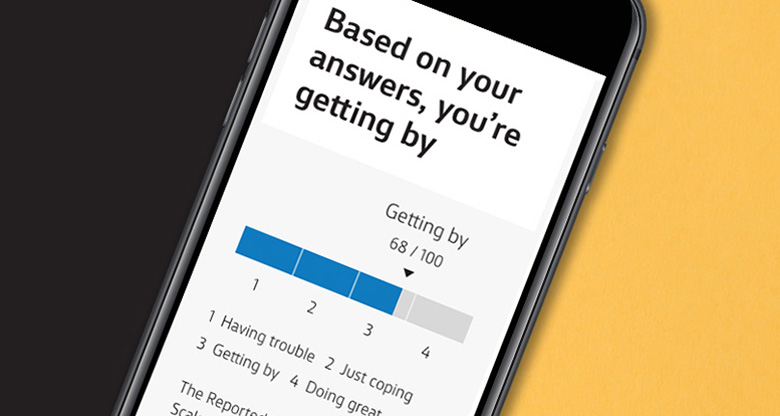 Mobile phone with Financial Wellbeing Score screen