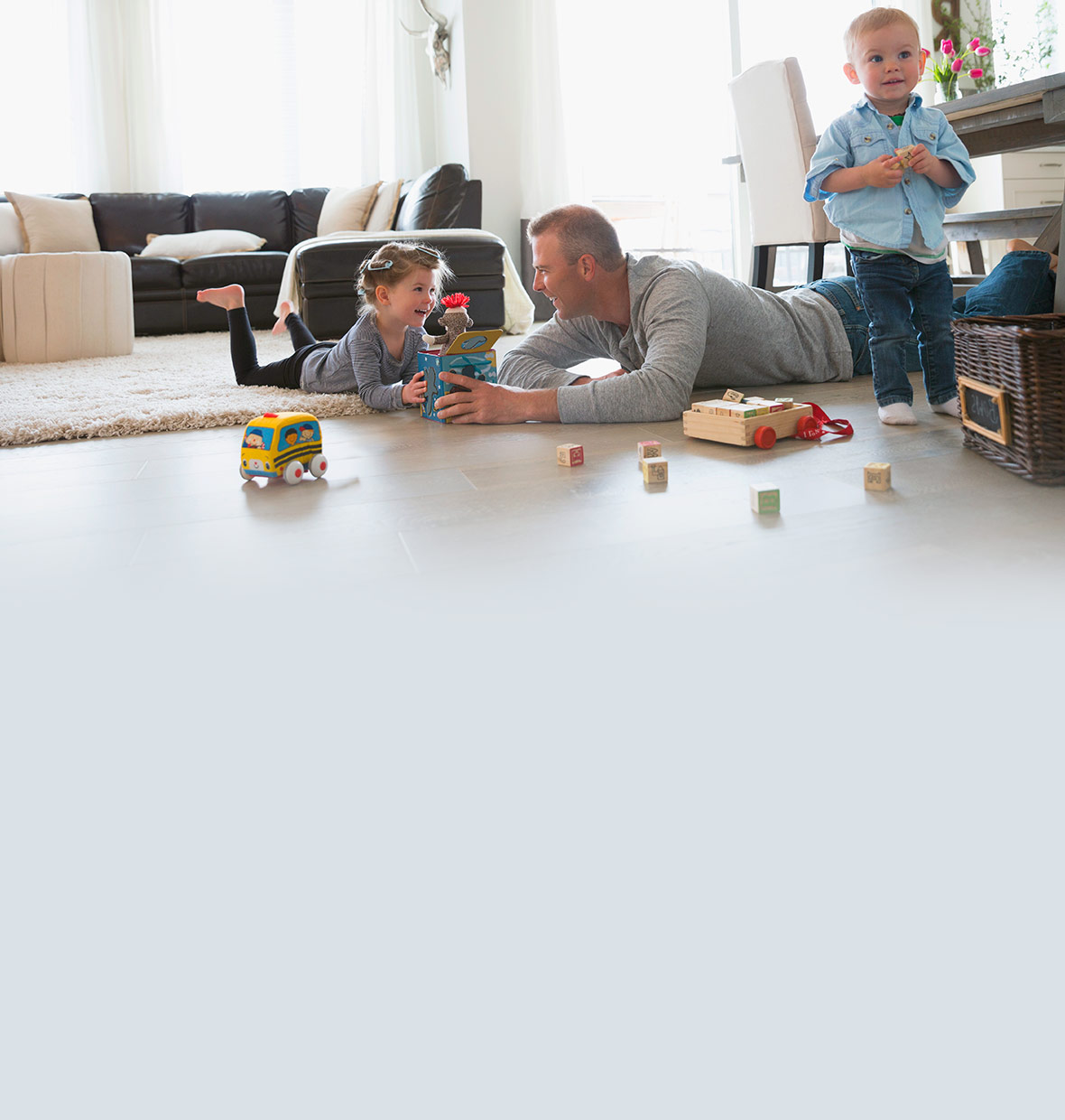 Father and children playing