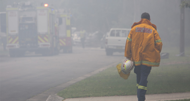 A Rural Fire Services worker on duty