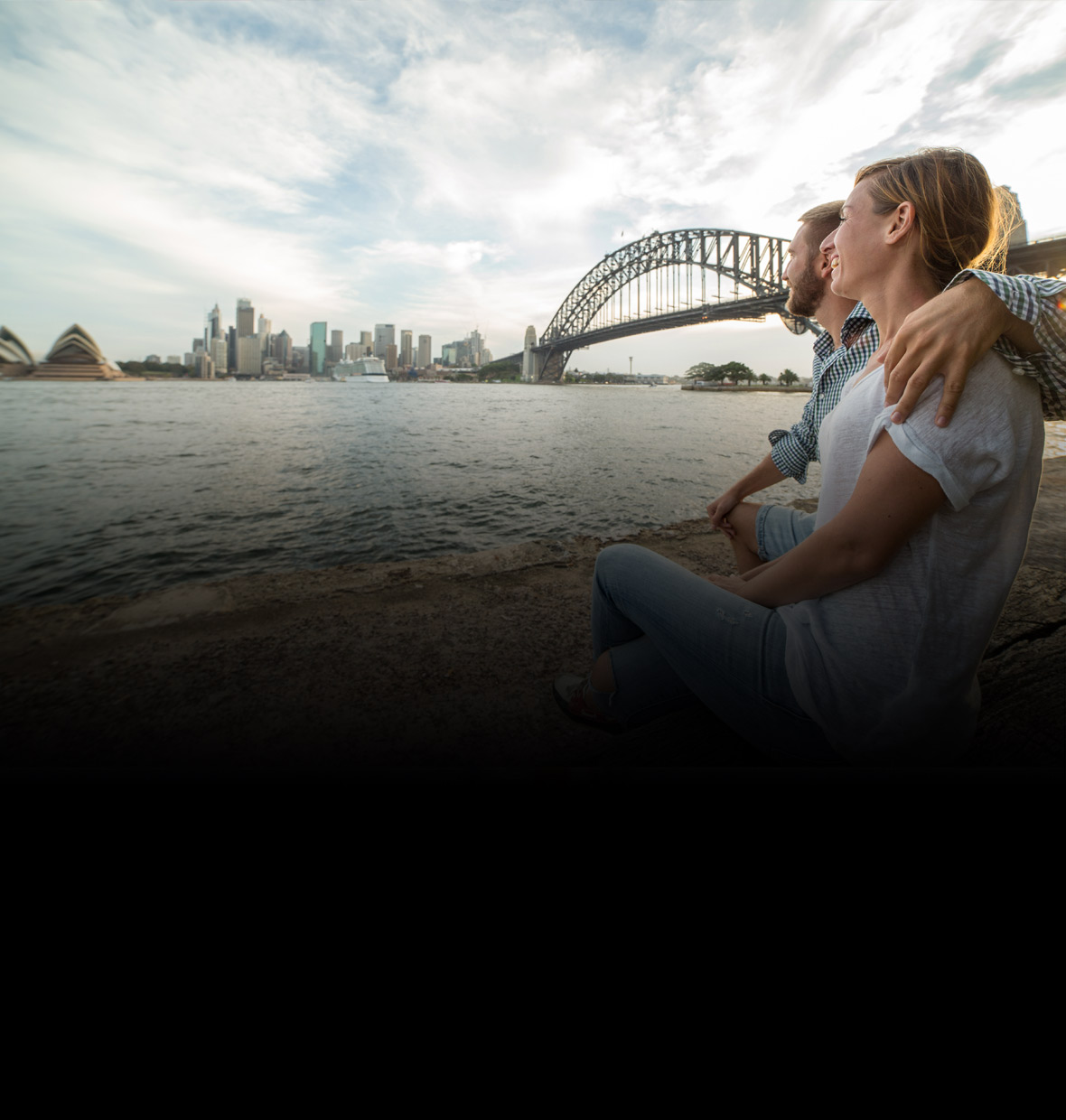 couple enjoying the view of Sydney harbour
