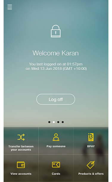 View of home screen displaying user features, including Transfer between your accounts