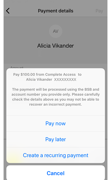 View of pop-up menu within Payment Details screen to choose Transfer now, Transfer later or Create a recurring payment