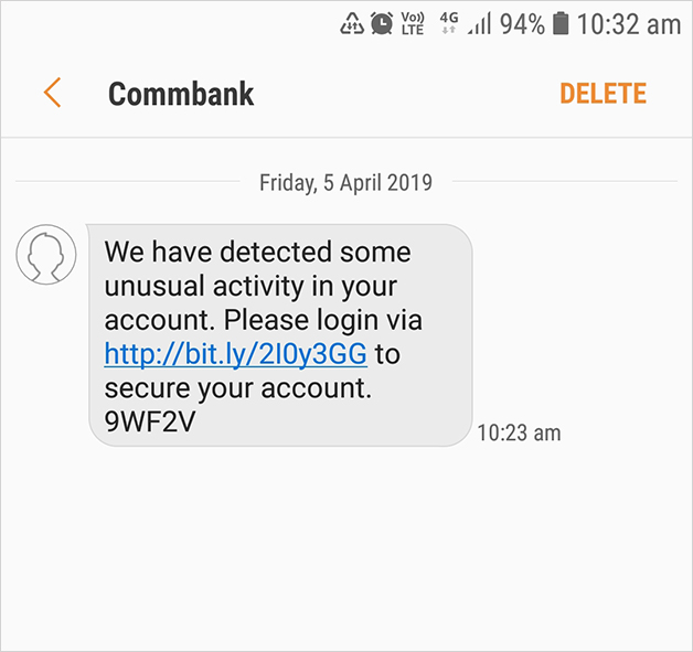 "Scam example: ""We have detected some unusual activity in your account. Please login via ... to secure your account"""