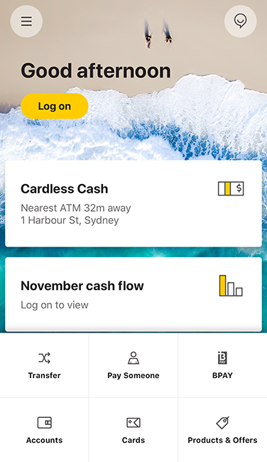 CommBank app log on page