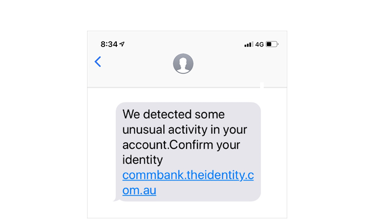 Screenshot of confirm your identity SMS phish