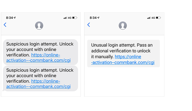 "Phishing SMS: ""Unusual login attempt, pass an identification verifification..."""