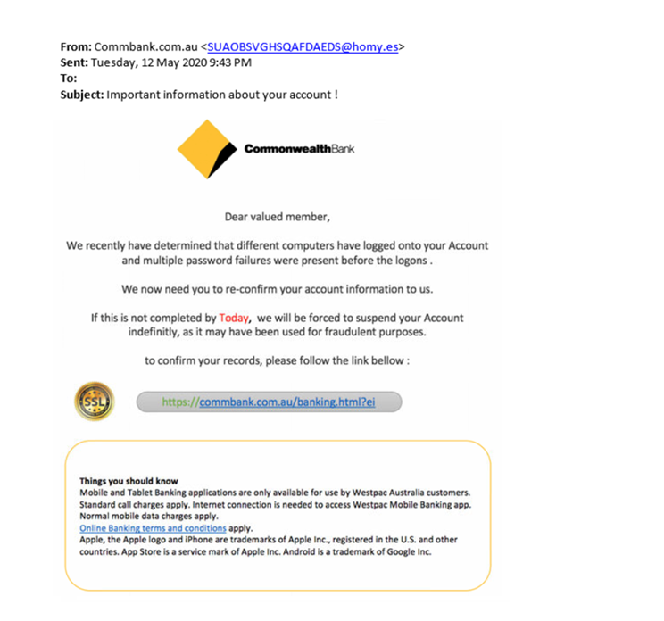 Account information confirmation scam - example 2
