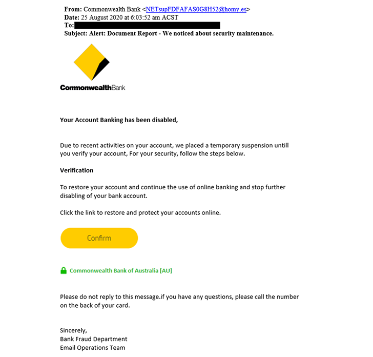 Scam example: Document report email