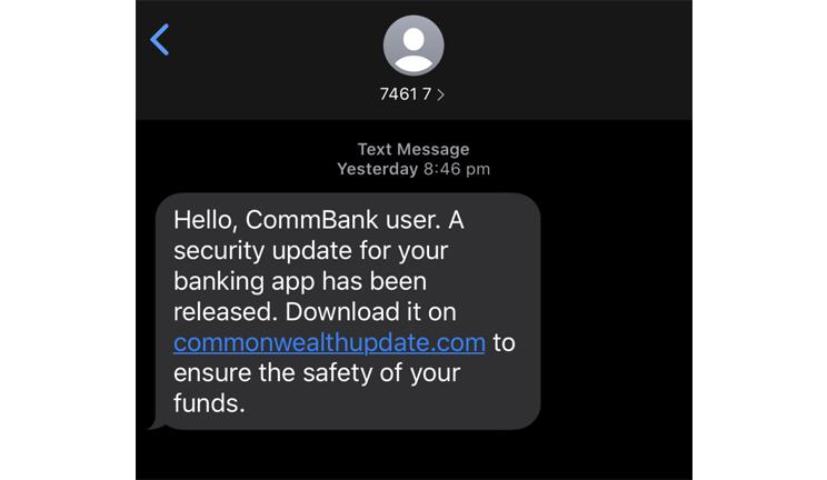 Scam example: SMS prompts the customer to click and download the security update for the banking app.