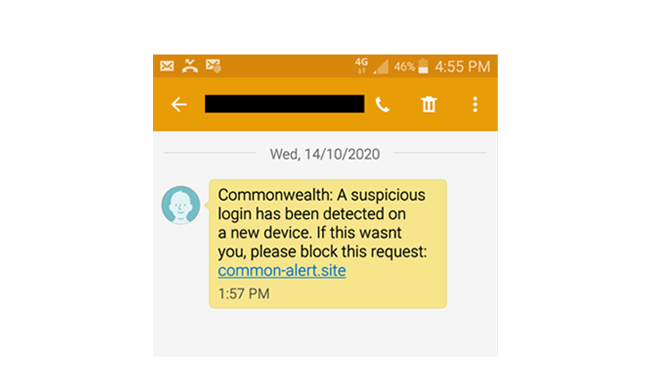 15 Oct 2020 - phishing scam SMS
