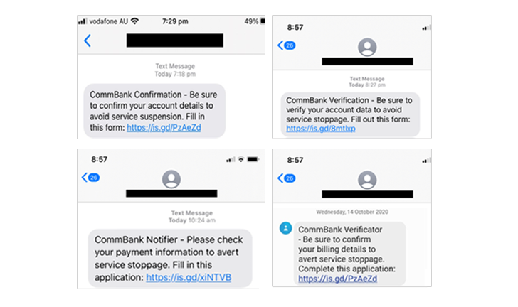 15 Oct 2020 - Verify your account data phishing scam SMS