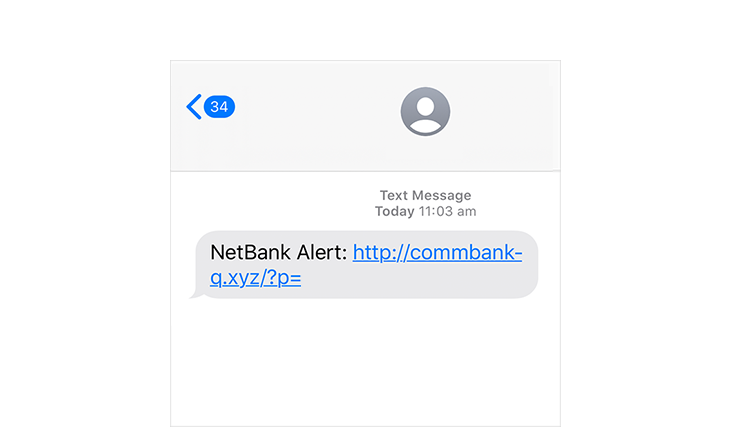 Phishing SMS hoax message