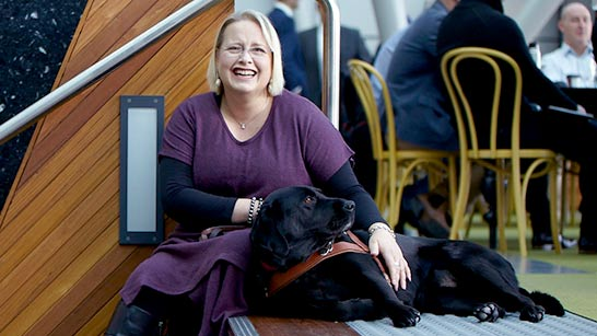 woman with guidedog