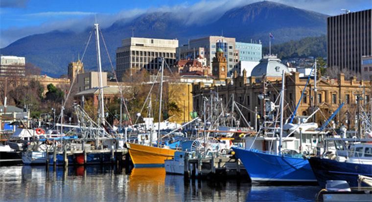 Boats and yachts at Hobart harbour