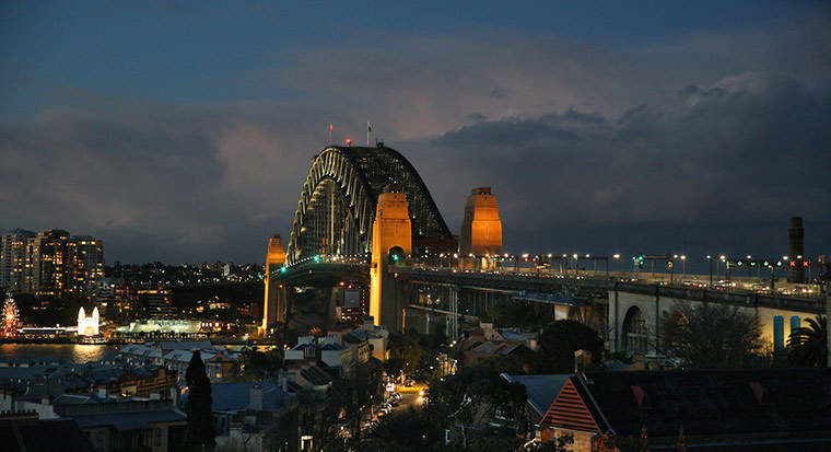 Sydney Harbour Bridge at night, seen from the Observatory Hill.