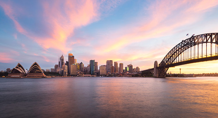 View of Sydney Harbour Bridge, with sunset