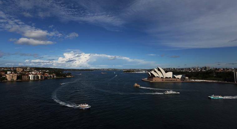 Aerial view of Sydney Harbour and Opera House
