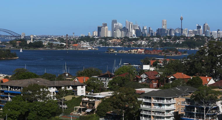 Sydney view of harbour and housing
