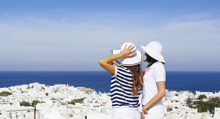 Two women travelling in Greece