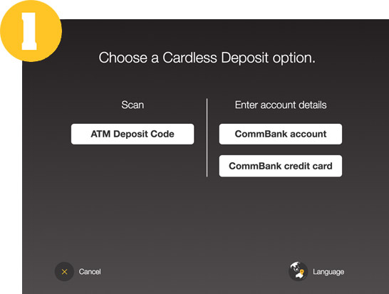 Choose a Cardless Deposit option