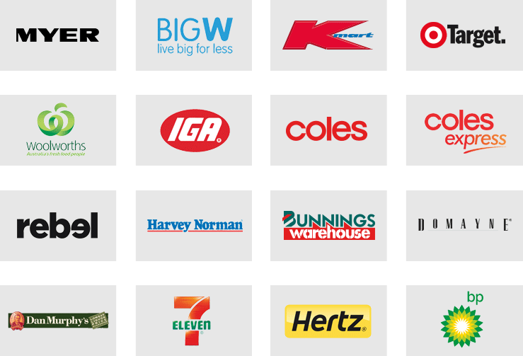 Logo's of companies that accept CommBank Awards American Express® Card