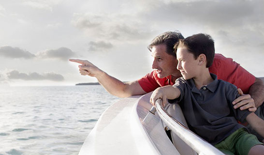 Father and son in boat