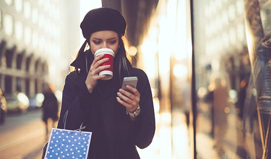 Lady using mobile phone
