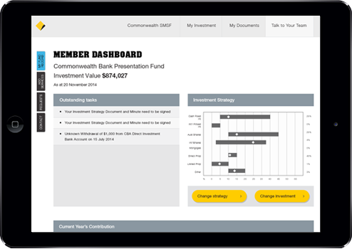Commbank SMSF Trust Admin Ipad view