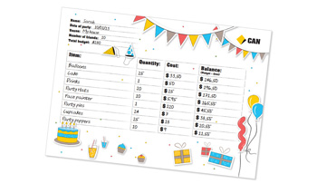 Download activity sheet of Party Planner Budget Sheet