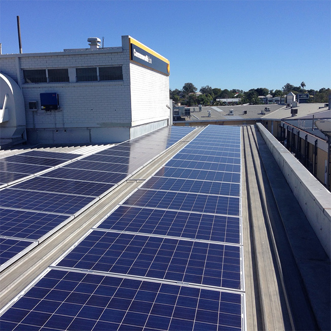 Image of solar panels on roof of Commonwealth Bank of Australia branch in QLD