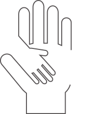 Image of a small hand on top of a larger hand representing Commonwealth Bank of Australia's community investment figure