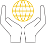 Image of two hands holding a globe representing: Regular meetings with NGOs