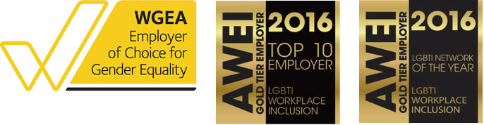 Image of WGEA, AWEI award logos (diversity and inclusion awards)