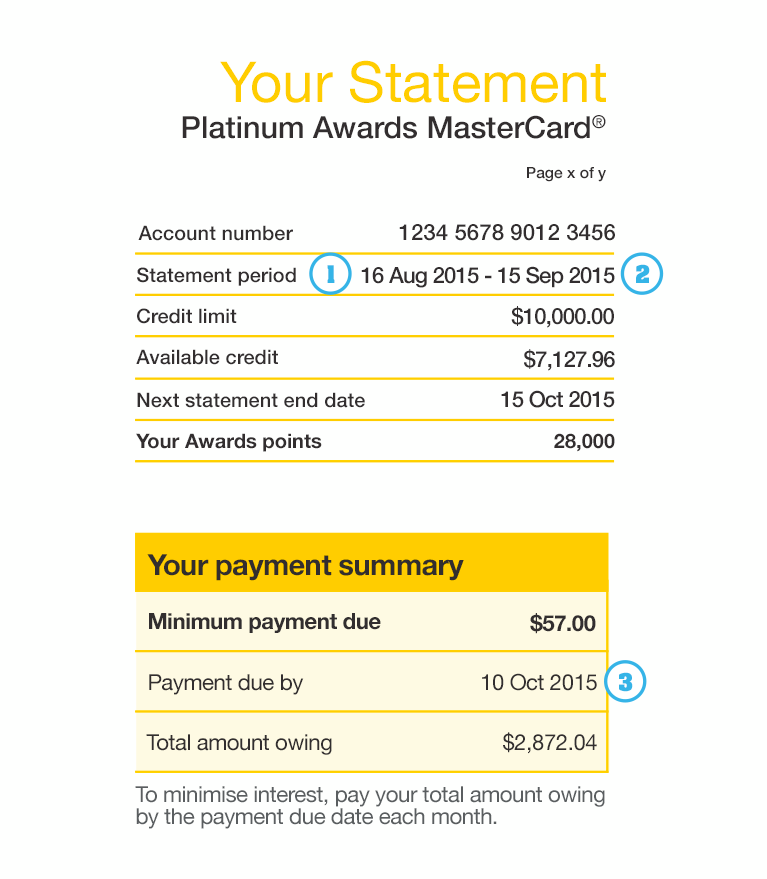 credit card statement example