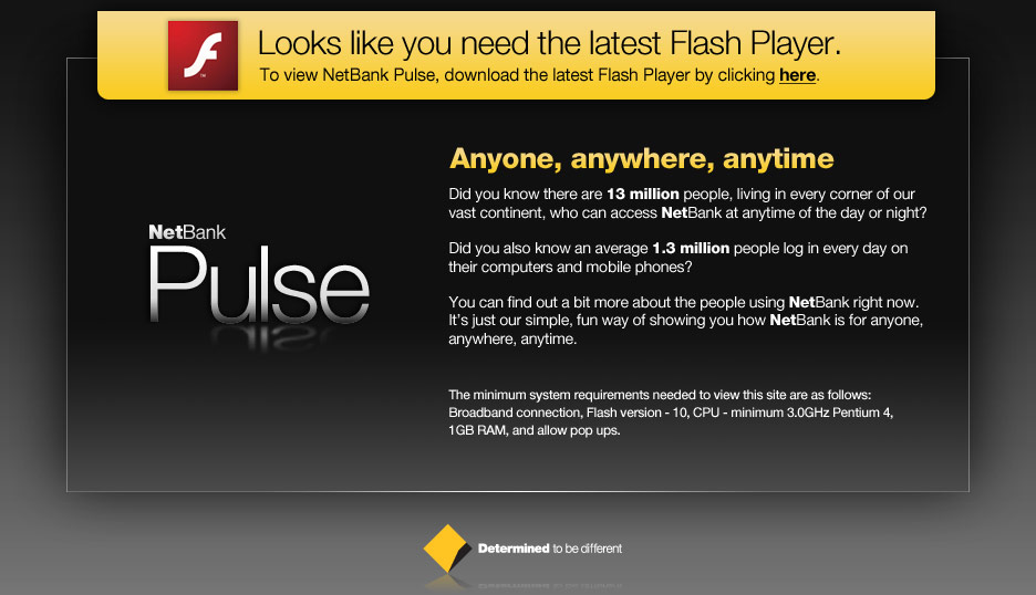 Looks like you need the latest flash player